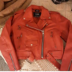 Red leather moto motorcycle jacket M